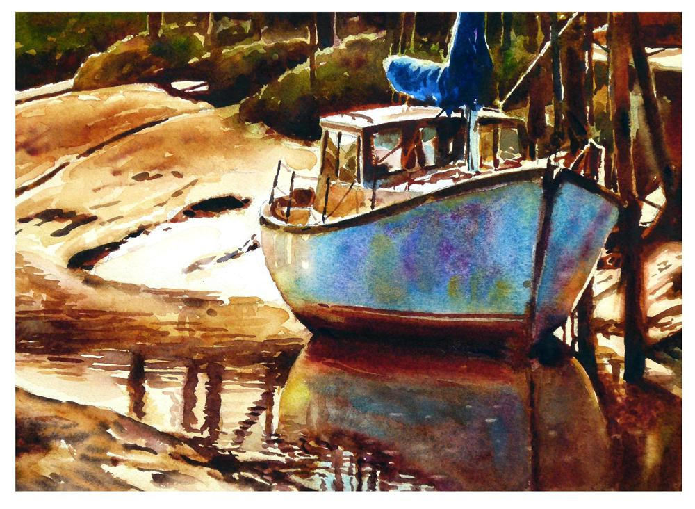"""""""Skippool boat at low tide"""" original fine art by Graham Berry"""