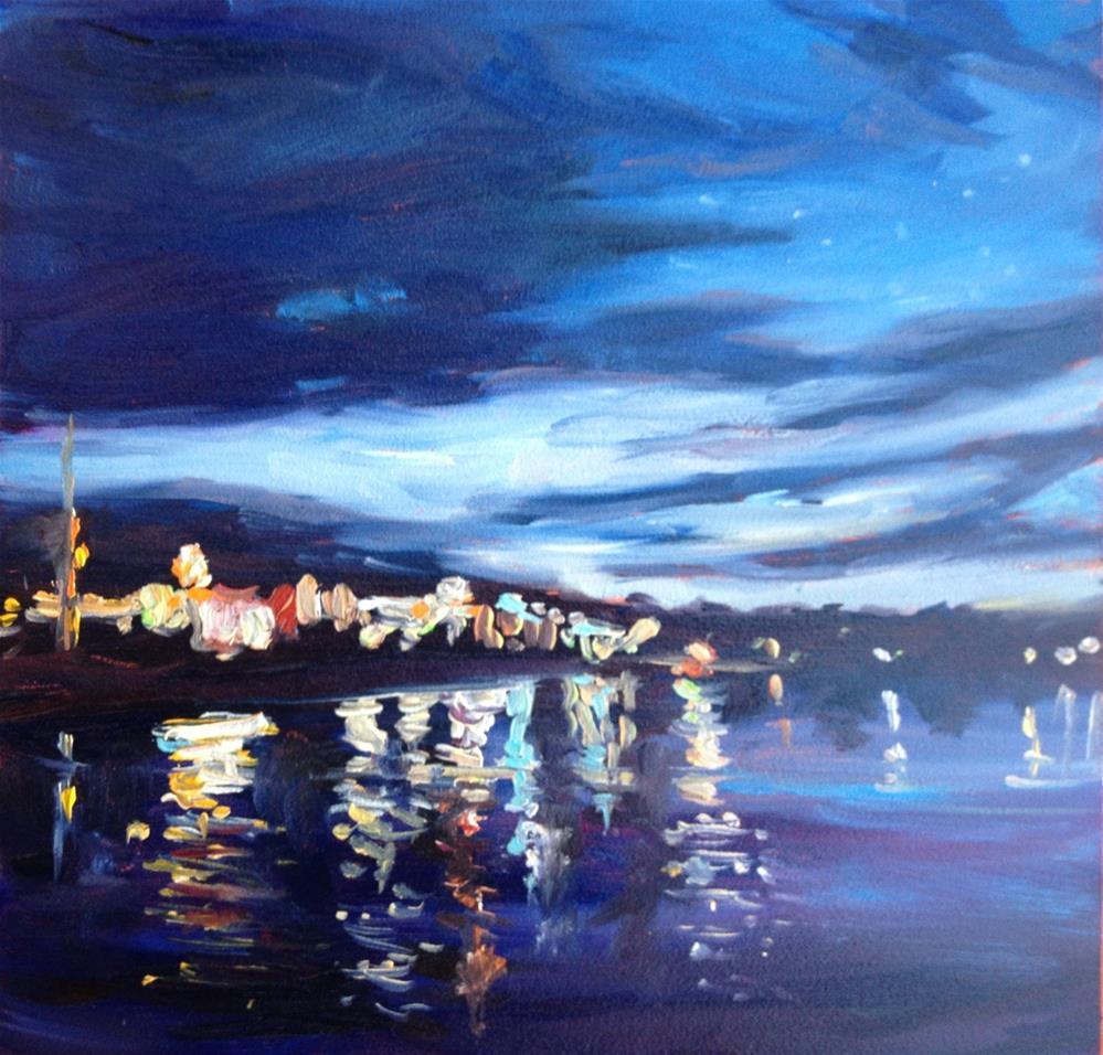 """""""Night Skies over Kennebunkport"""" original fine art by Claudia L Brookes"""