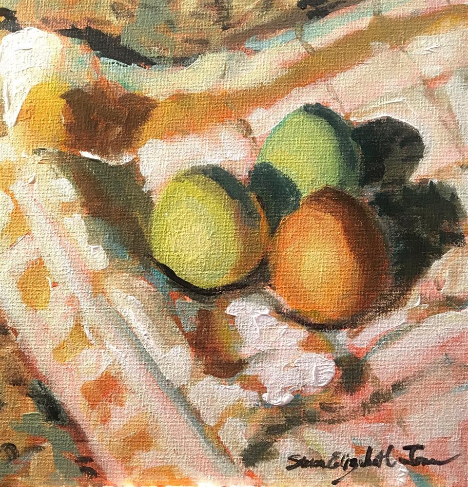 """Eggs in a Dish Towel on the Counter"" original fine art by Susan Elizabeth Jones"