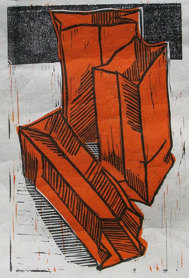 """Three Red Bags"" original fine art by Jack Jones"