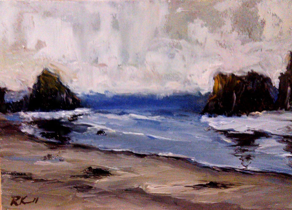 """Rocky Shore - Oregon Coast"" original fine art by Bob Kimball"
