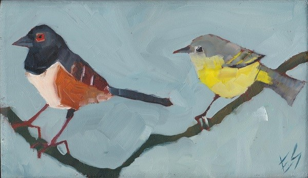 """""""Towhee and Yellowthroat Northwest Birds On A Branch Painted On Wooden Block"""" original fine art by Elizabeth See"""