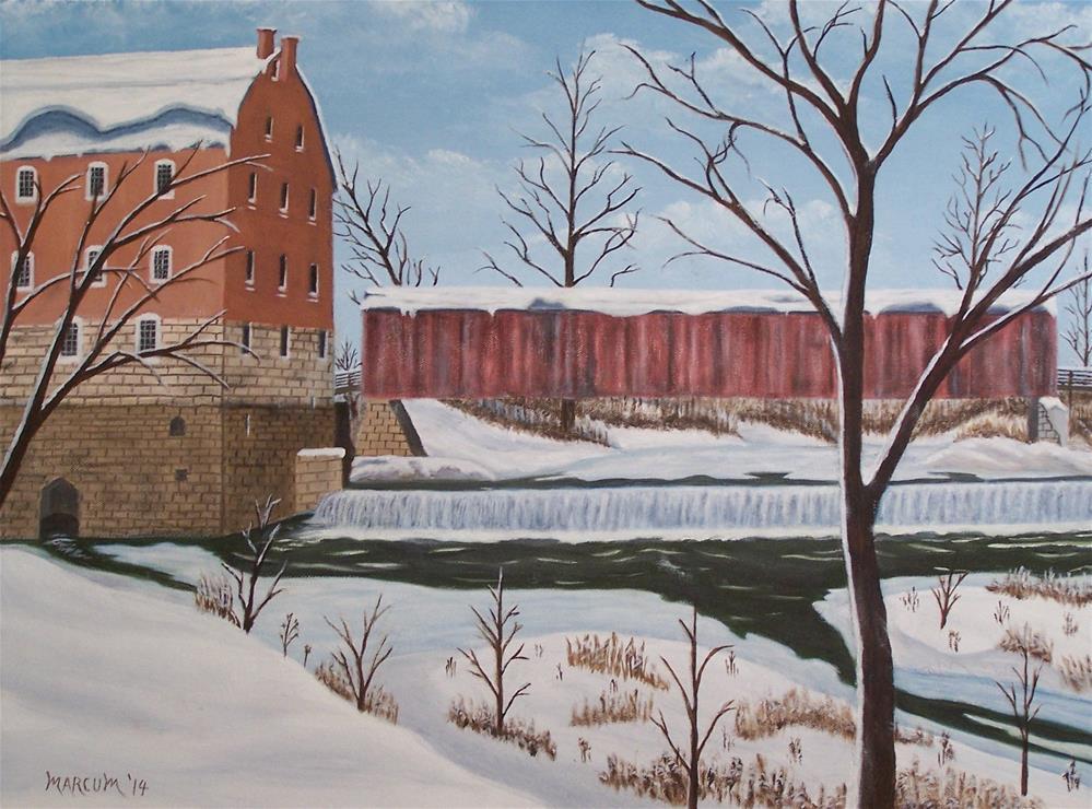 """Bollinger Mill in Winter"" original fine art by John Marcum"