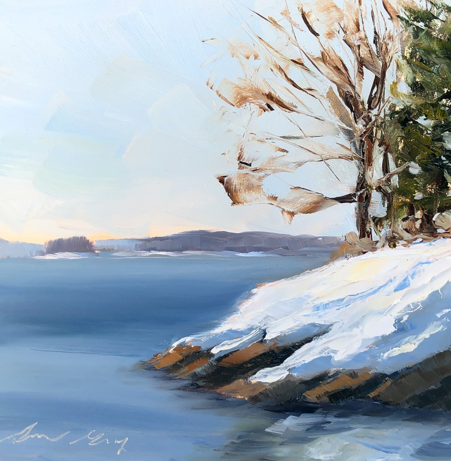 """#202 - Casco Bay in Winter - Falmouth Foreside, ME"" original fine art by Sara Gray"