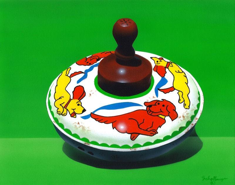 """Running Dogs Top"" original fine art by Fred Schollmeyer"
