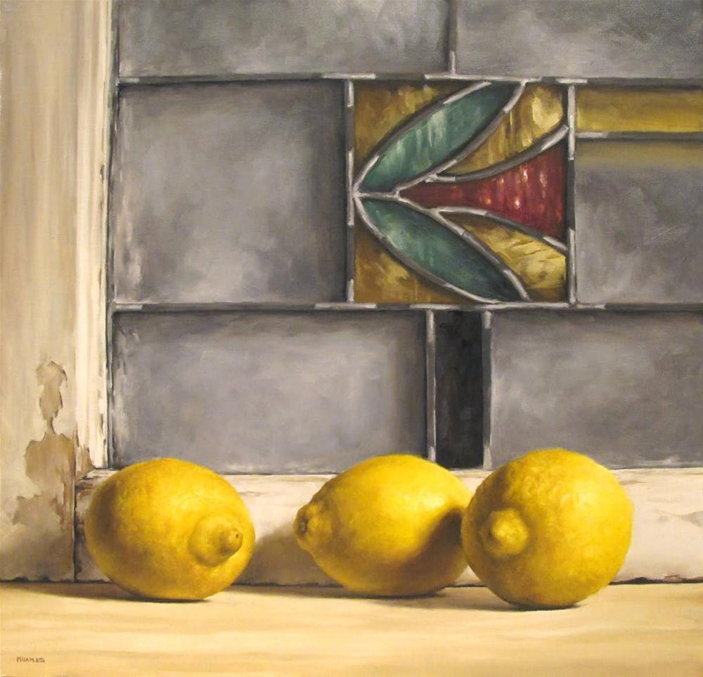 """""""Lemons with Antique Stained Glass"""" original fine art by Michael Naples"""