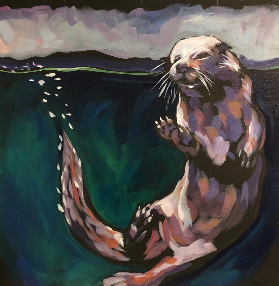 """Otter Touch"" original fine art by Kat Corrigan"