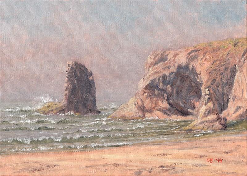 """C1554 Offshore Seamist Rising (Bandon Beach, Oregon Coast)"" original fine art by Steven Thor Johanneson"