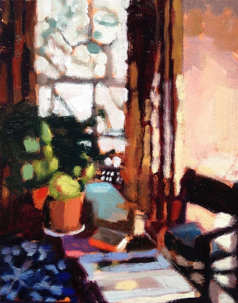 """""""Morning table With Books and Coffee"""" original fine art by Pamela Hoffmeister"""