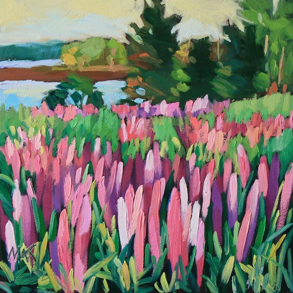"""""""Lupines by the Sea"""" original fine art by Mary Anne Cary"""