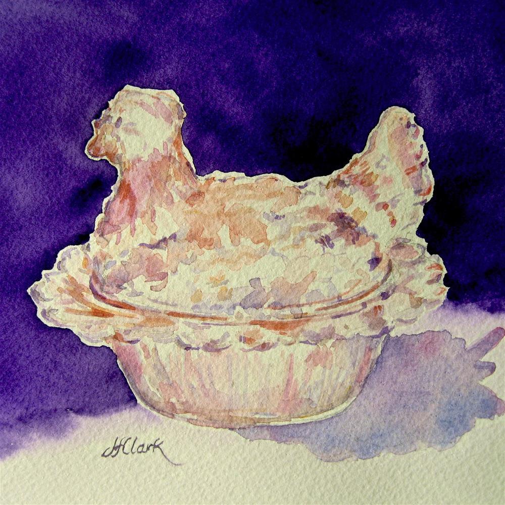 """Tiny Hen-on-a-Nest"" original fine art by Judith Freeman Clark"