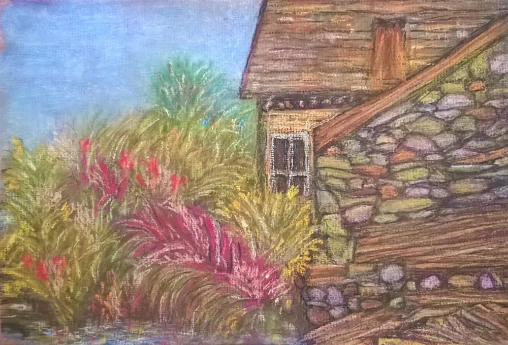 """Cottage near Keswick I with Mill Pond"" original fine art by Sugar Leopard Fine Arts"