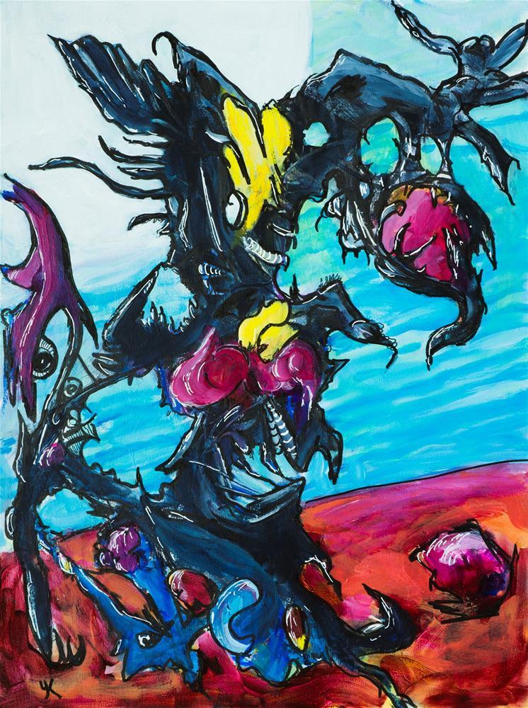 """Predatory Alien Plant"" original fine art by Yulia Kazansky"
