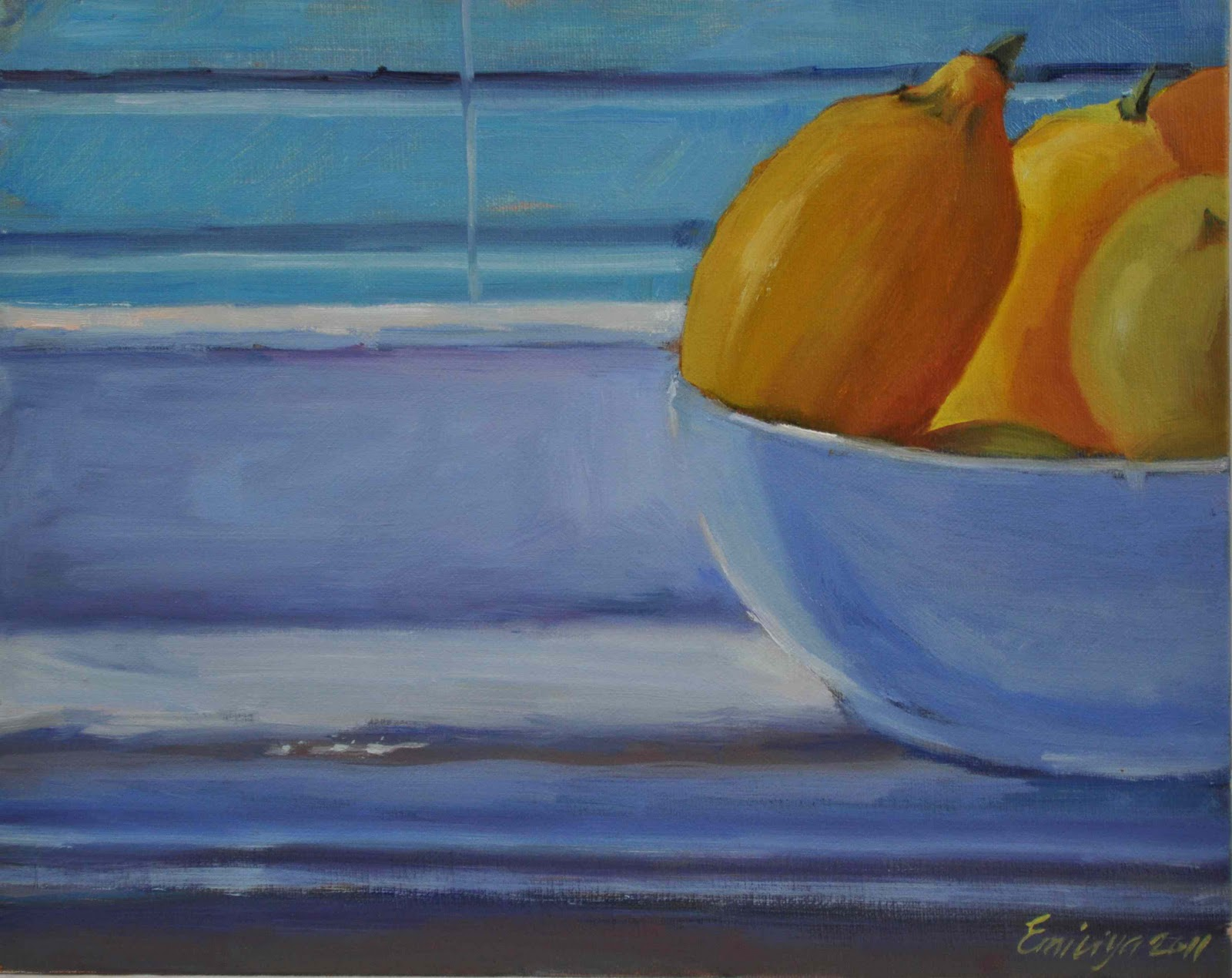 """On the edge oil on gessoed board"" original fine art by Emiliya Lane"