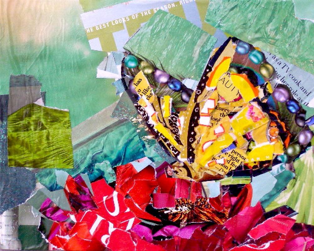 """""""Soft Landing, 8x10 Collage"""" original fine art by Carmen Beecher"""