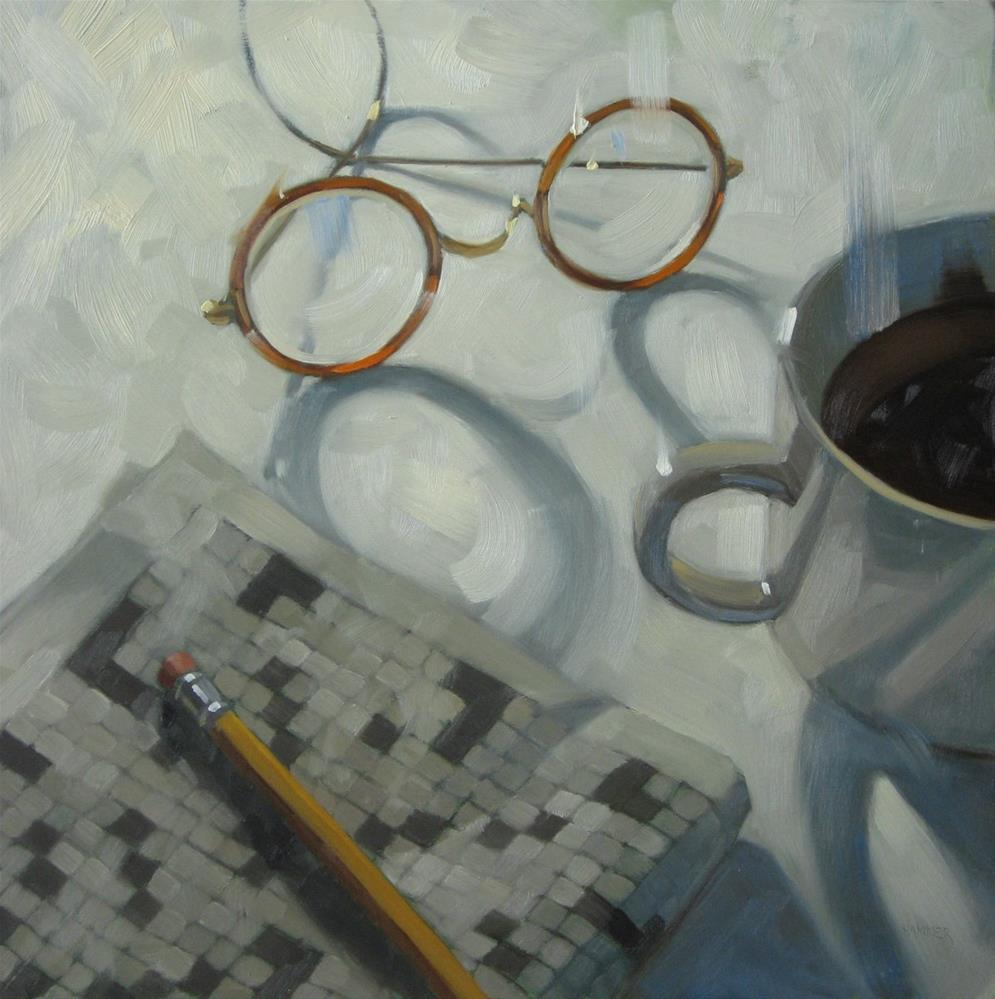 """""""Working a crossword puzzle 18x18 oil on wood"""" original fine art by Claudia Hammer"""