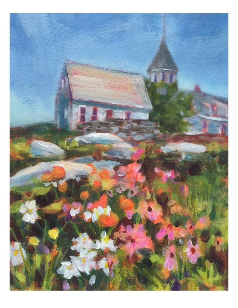 """""""Flower Garden On Monhegan"""" original fine art by Suzanne Woodward"""
