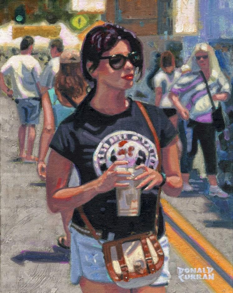 """""""Pretty Girl at the Art Fair"""" original fine art by Donald Curran"""