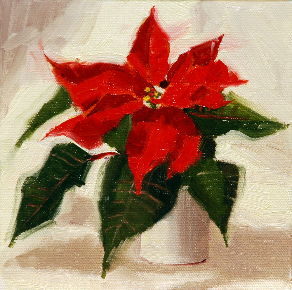 """Poinsettia #1"" original fine art by Susan McManamen"