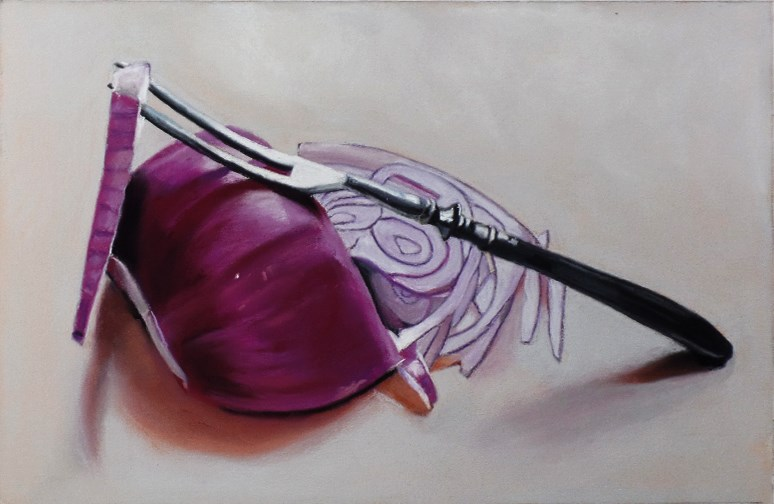 """Antique fork and red onion still life painting"" original fine art by Ria Hills"