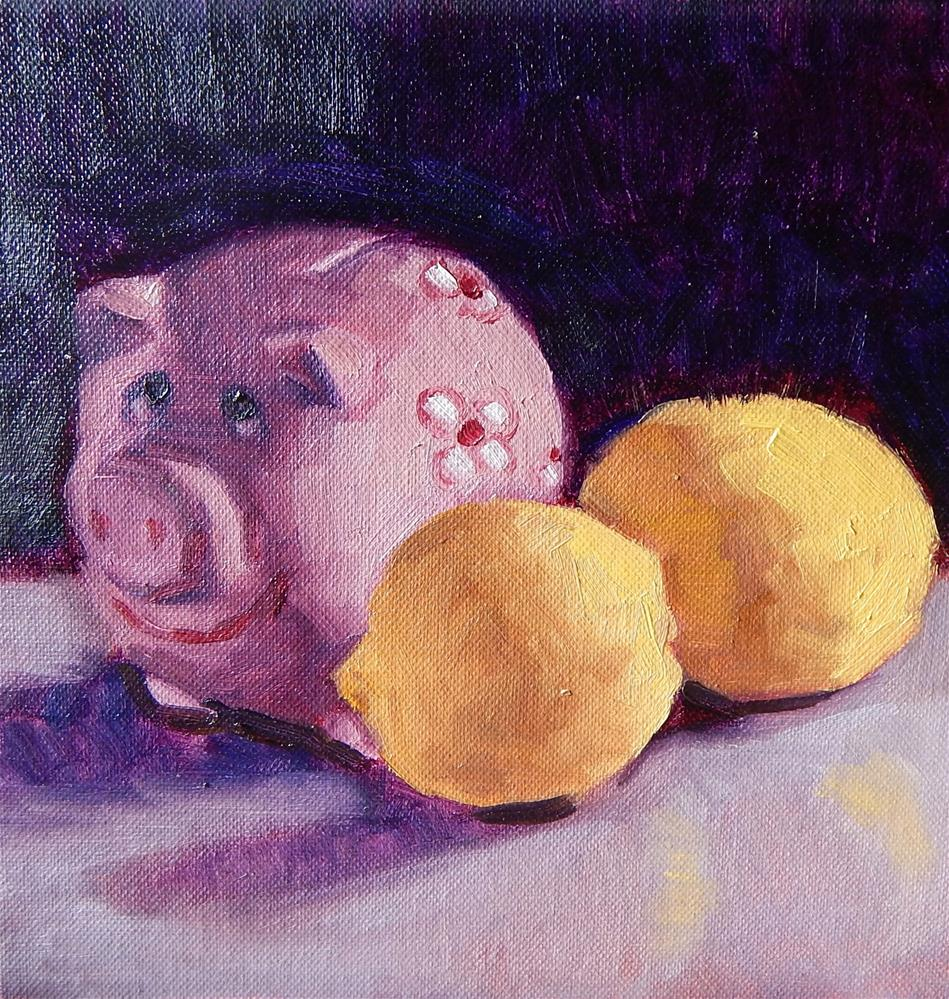 """Study of Piggy Bank and Lemons"" original fine art by Megan Schembre"