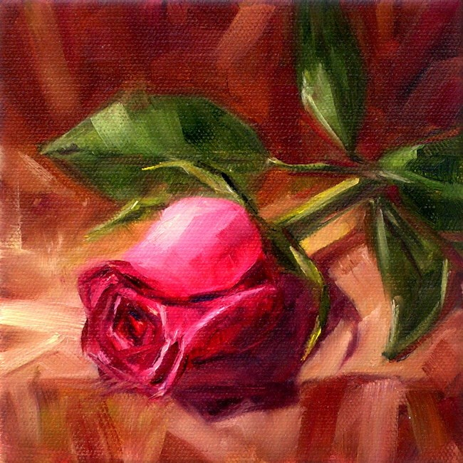 """Pink Rose Study"" original fine art by Irina Beskina"
