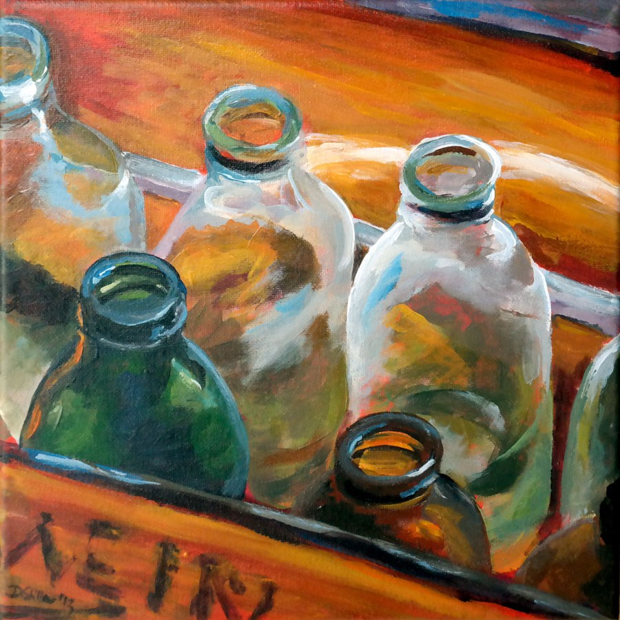 """0785 Bottle empty"" original fine art by Dietmar Stiller"