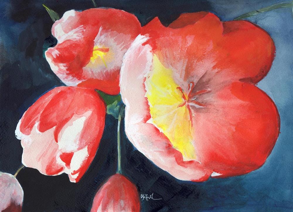 """Sunlit Tulips"" original fine art by Bunny Griffeth"
