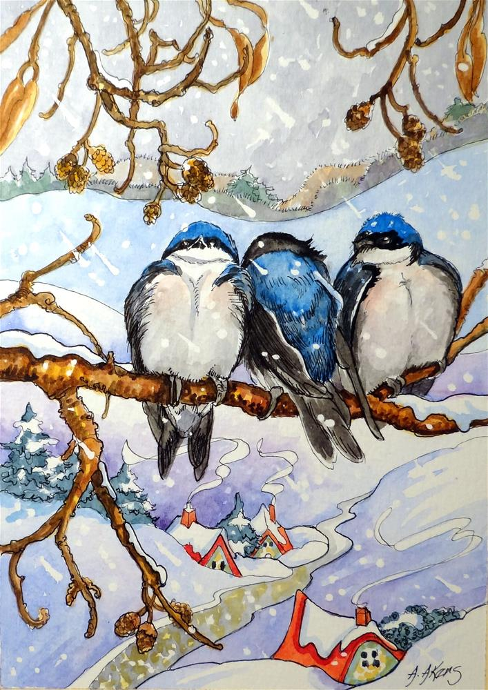 """""""Friends can Keep you Warm on a Wintry Day"""" original fine art by Alida Akers"""