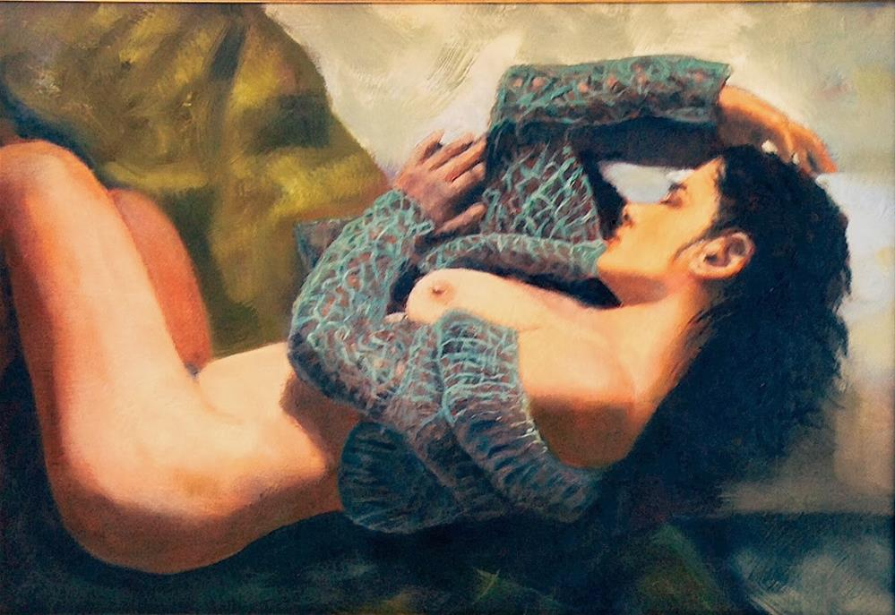 """""""Nude with Sweater 11x16 in antique gold frame"""" original fine art by David Larson Evans"""