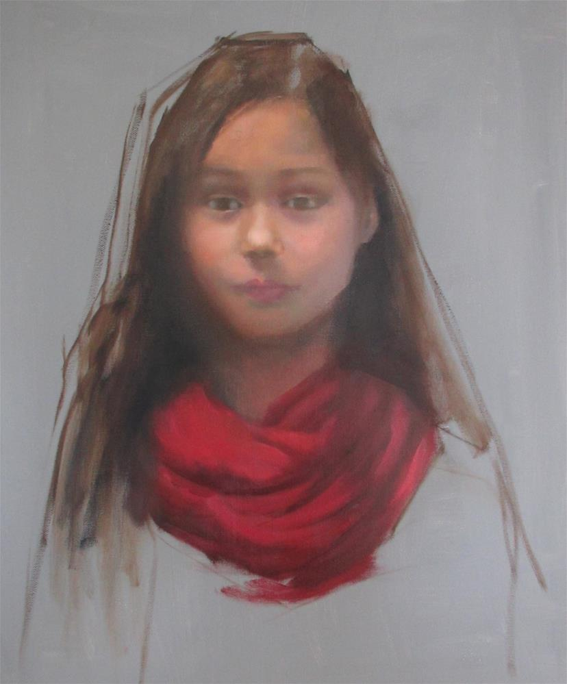 """""""The Red Scarf"""" original fine art by Linda Carney"""