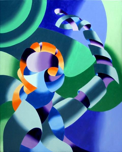 """Mark Adam Webster - Ximon - Abstract Futurist Figurative Oil Painting"" original fine art by Mark Webster"