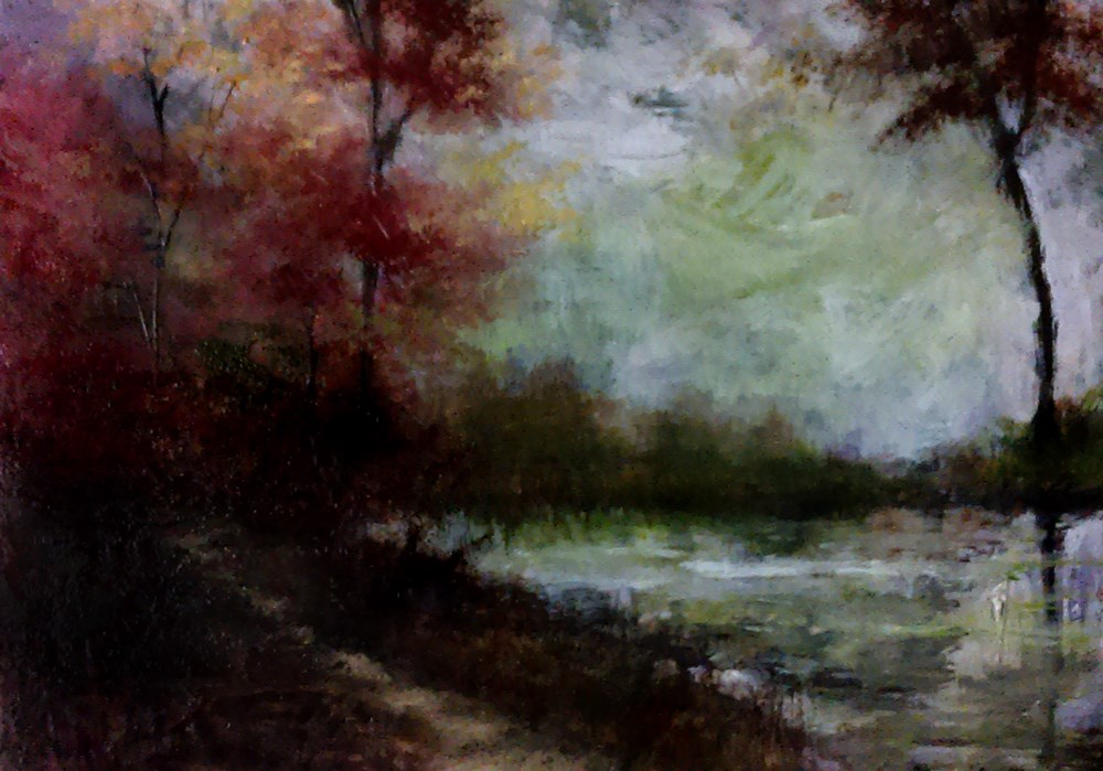 """""""The Path by the Lake"""" original fine art by Bob Kimball"""