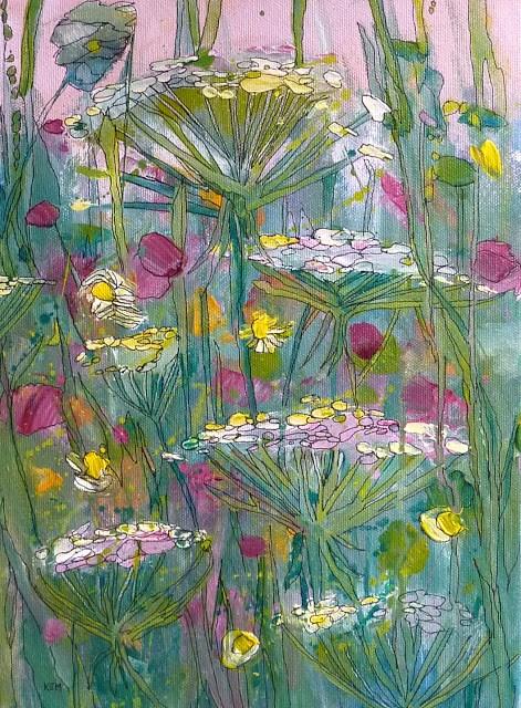 """""""Queen Annes Lace Acrylic"""" original fine art by Karen Margulis"""
