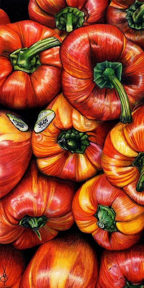 """""""Colorful Peppers"""" original fine art by Valorie Sams"""