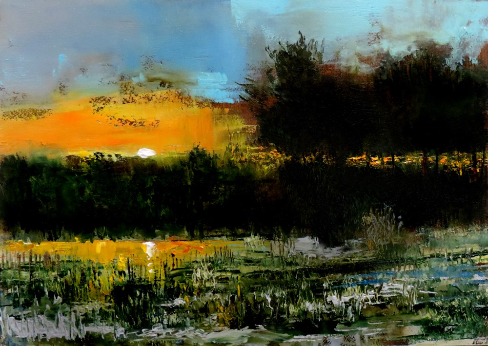 """Sunset Over the Pond"" original fine art by Bob Kimball"