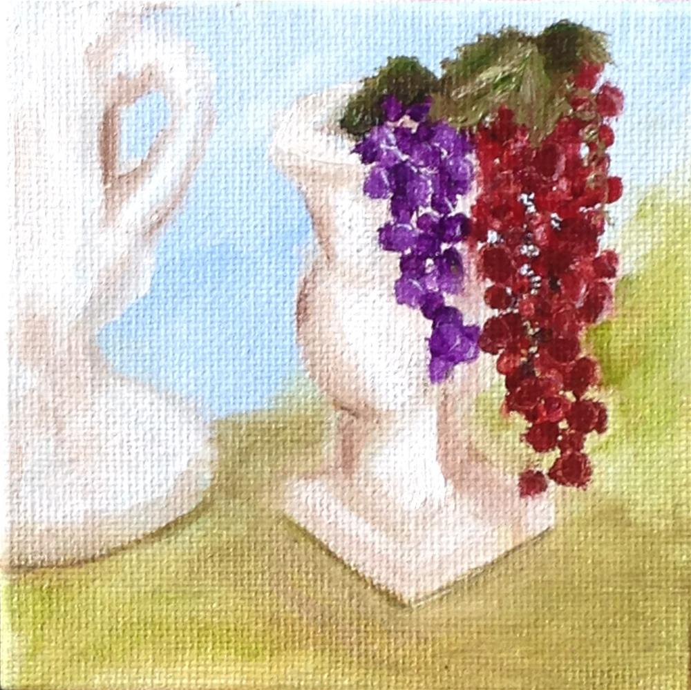 """Urns and Grapes  green"" original fine art by Joy McMicken"