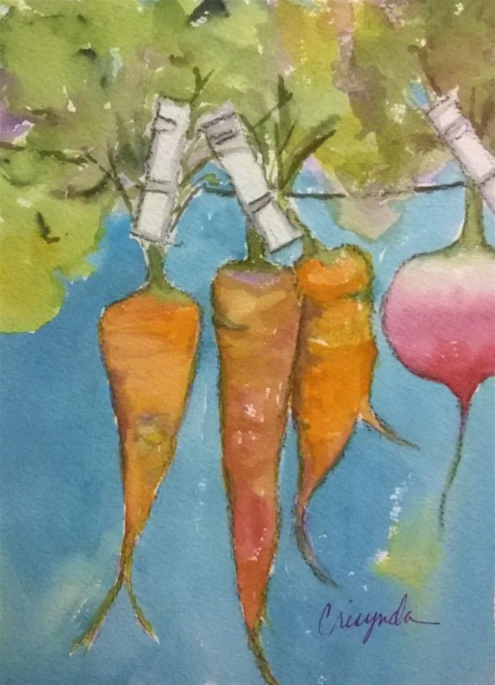 """Veggies on line"" original fine art by Crisynda Buss"