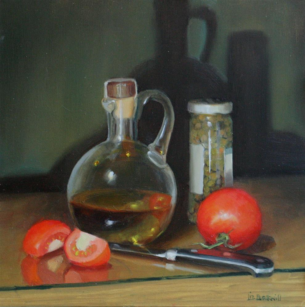 """Olive oil, capers and tomatoes"" original fine art by Liz Balkwill"
