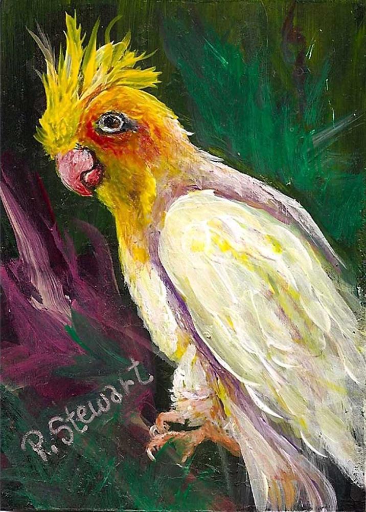 """""""White Cockatiel in a Tree"""" original fine art by Penny Lee StewArt"""