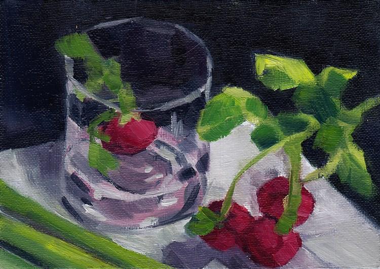 """Radishes and Glass"" original fine art by J M Needham"