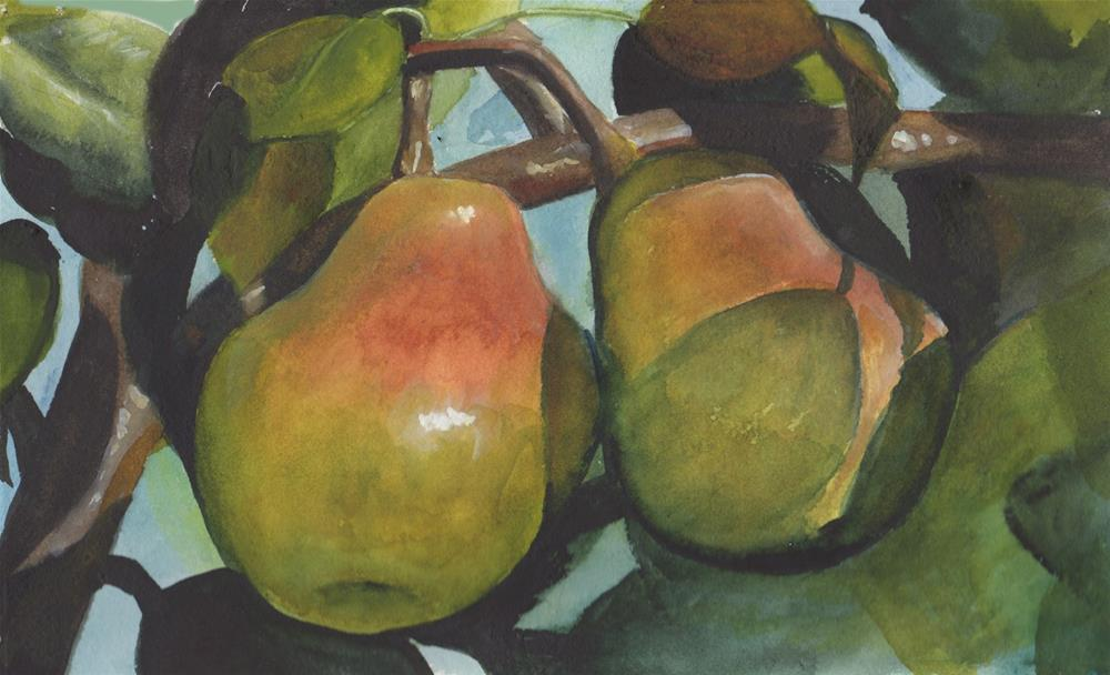 """""""Pears in Tree"""" original fine art by Bunny Griffeth"""