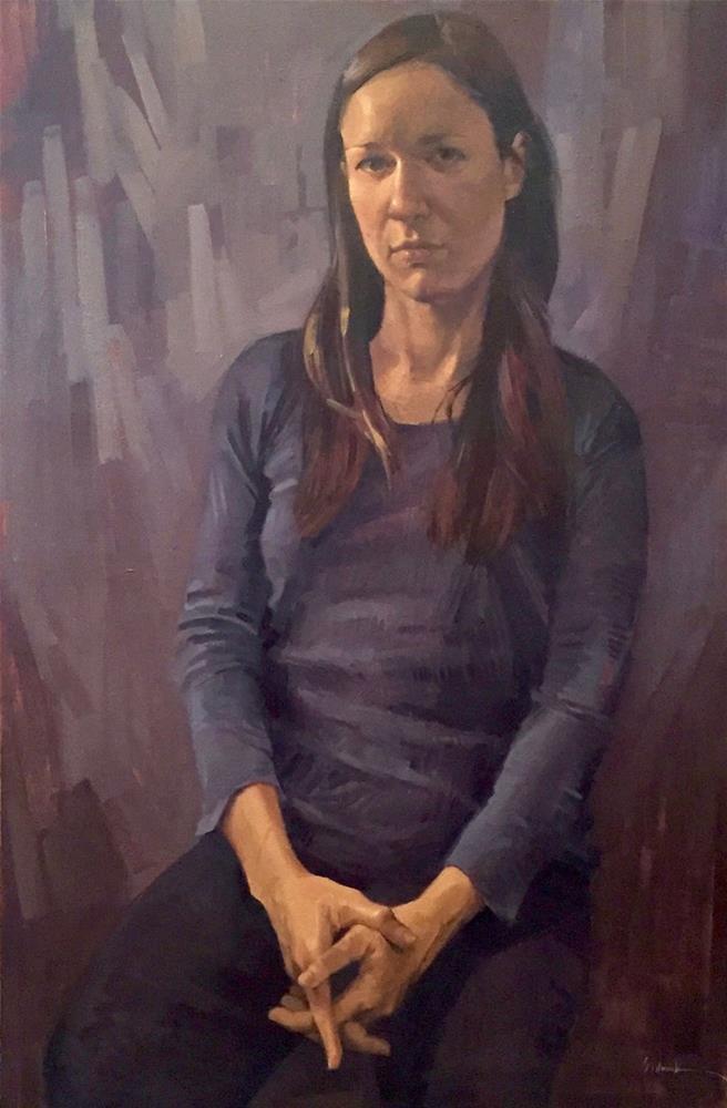"""Self Portrait, Pointing Down"" original fine art by Sarah Sedwick"