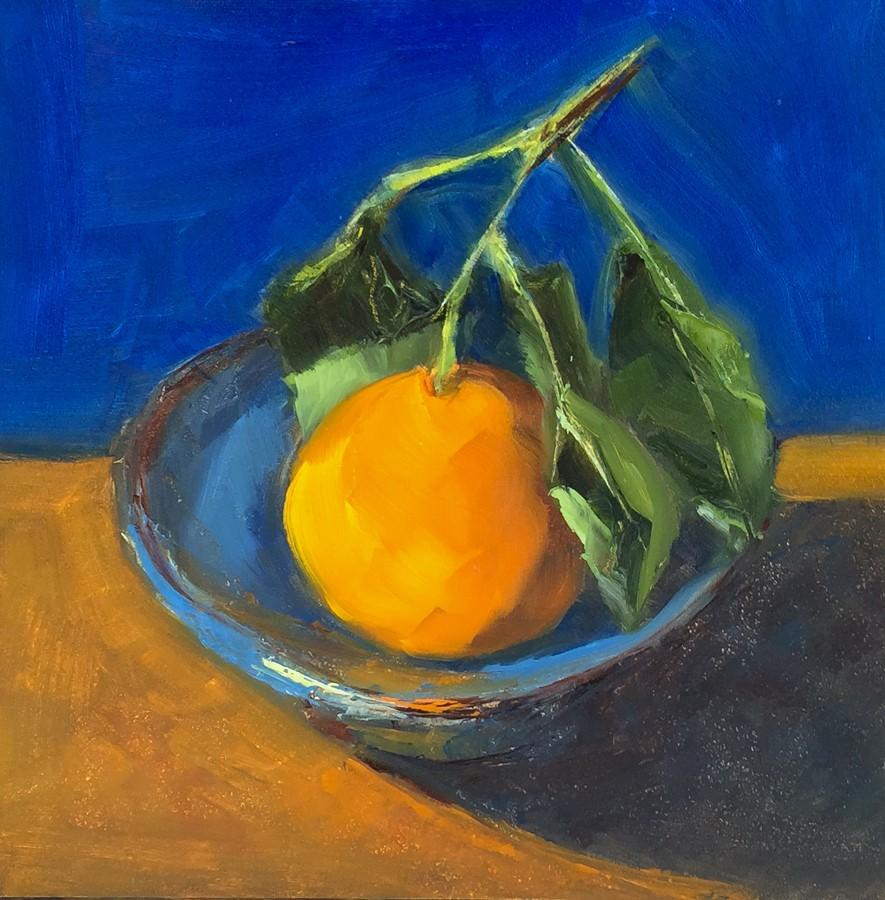 """#109 - Mandarin in Blue Bowl"" original fine art by Sara Gray"