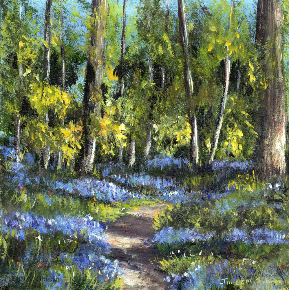 """Bluebell Forest 2"" original fine art by Janet Graham"