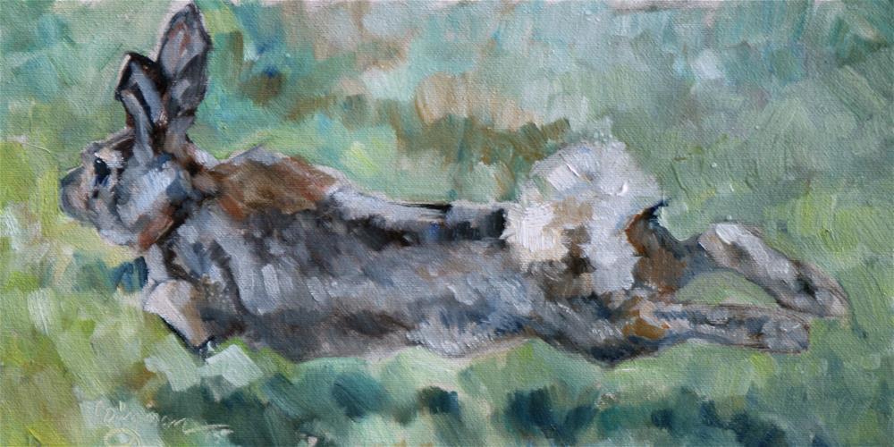 """Run Rabbit Run"" original fine art by Carlene Dingman Atwater"