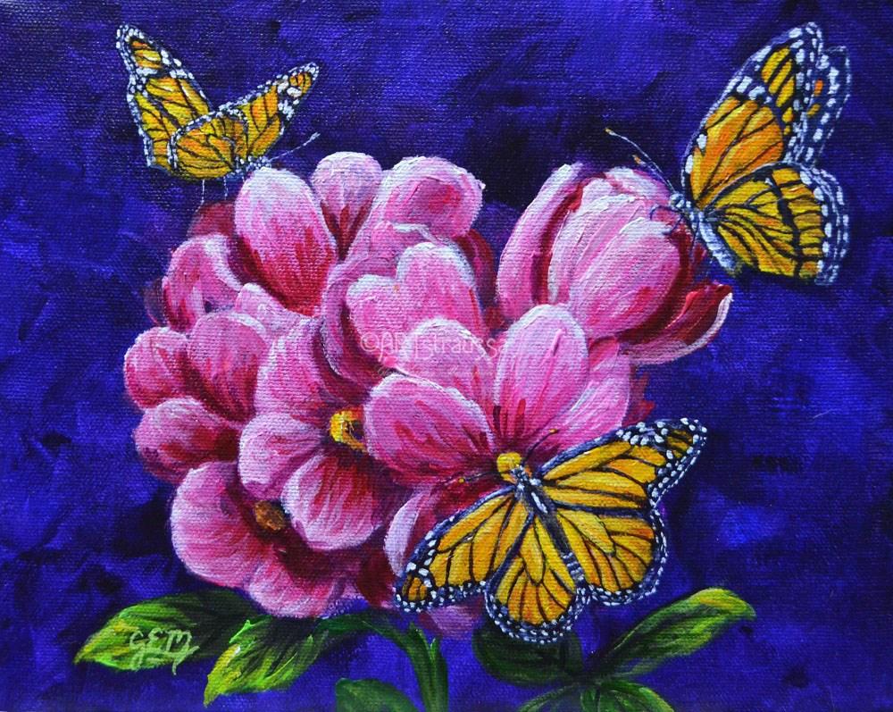 """""""Monarch Trio"""" original fine art by Gloria Ester"""
