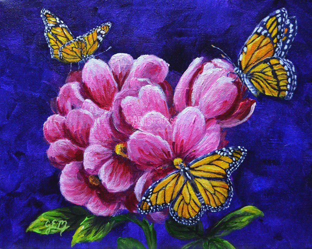 """Monarch Trio"" original fine art by Gloria Ester"