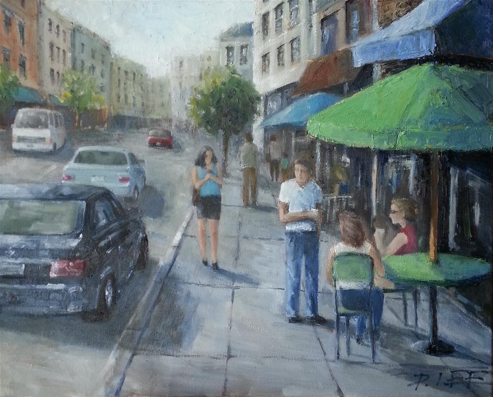 """Street Cafe"" original fine art by Peter Lee"