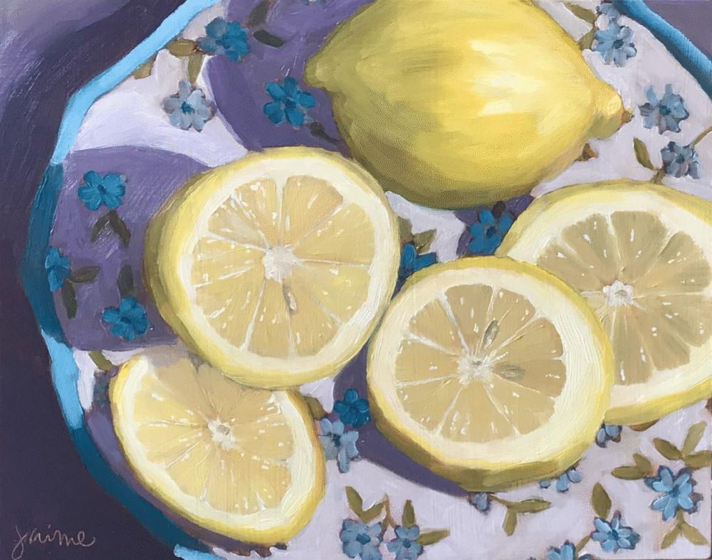 """Lemons + Sunshine"" original fine art by Jaime Wickstrom"